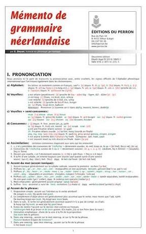 Mémento de grammaire néerlandaise (réédition)